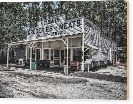 H C Smith's Groceries Heritage Village Wood Print