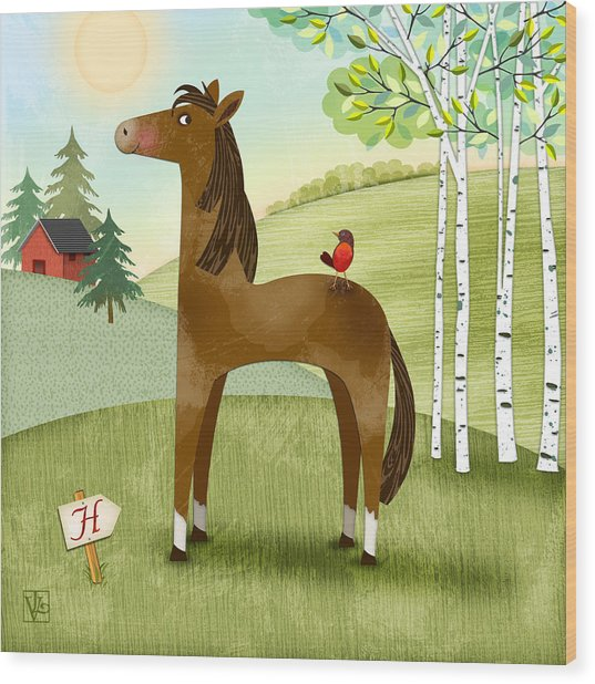 H Is For Henry The Horse Wood Print