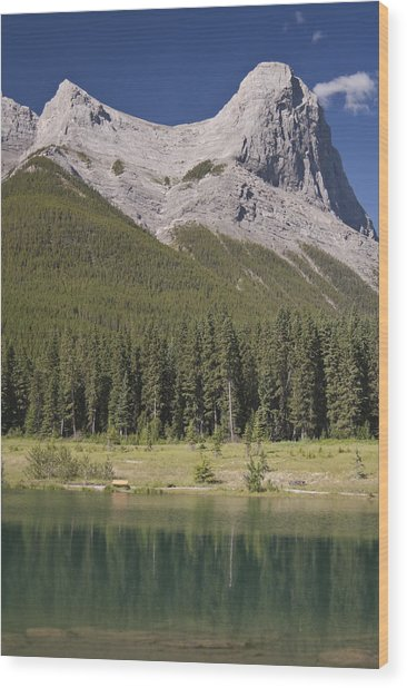 Ha-ling Peak Rises Above Quarry Lake Wood Print