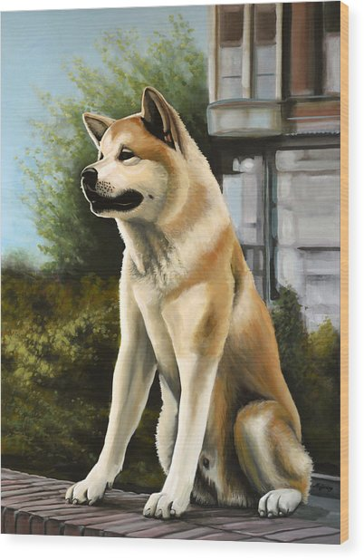 Hachi Painting Wood Print