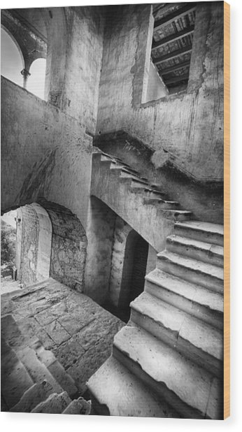 Hacienda Stairwell Wood Print