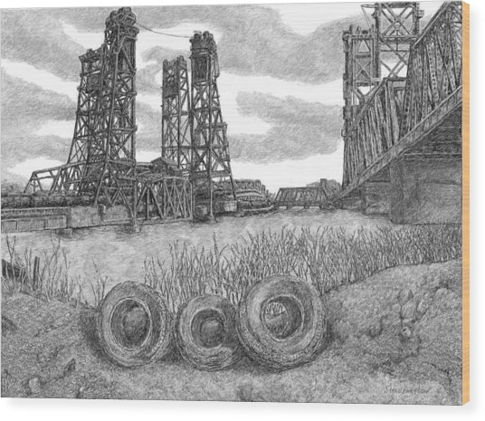 Hackensack River Train Bridge Wood Print