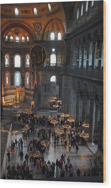 Hagia Sophia Panorama Wood Print by Jacqueline M Lewis