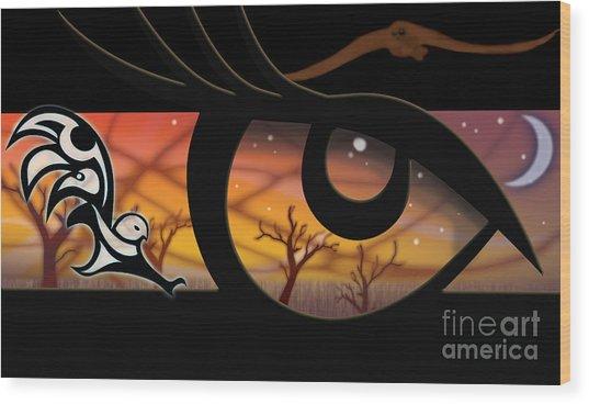Haida Owl Raven Digital Illustration Owl Eyes Wood Print