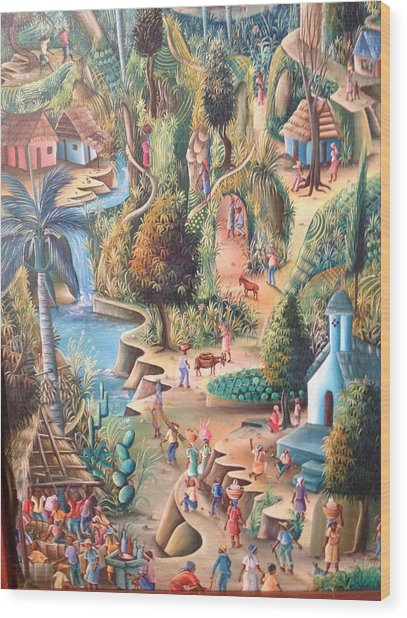Haitian Village Wood Print