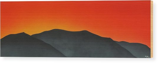Hakarimata Sunset Wood Print