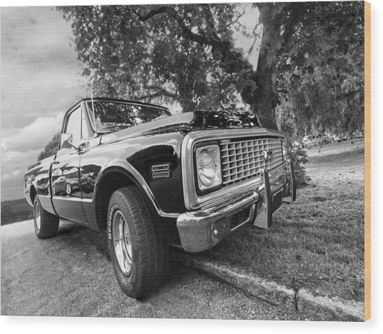 Halcyon Days - 1971 Chevy Pickup Bw Wood Print