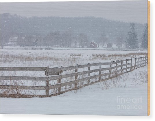 Hale Farm At Winter Wood Print by Joshua Clark