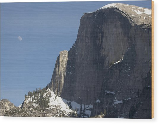 Half Dome And Moon Wood Print by Richard Berry