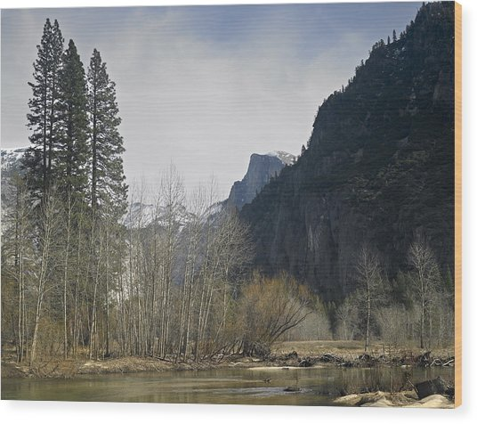 Half Dome And The Merced River In Winter Wood Print by Richard Berry