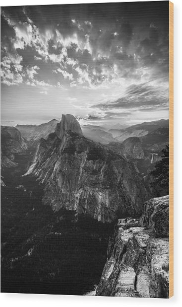 Half Dome In Black And White Wood Print