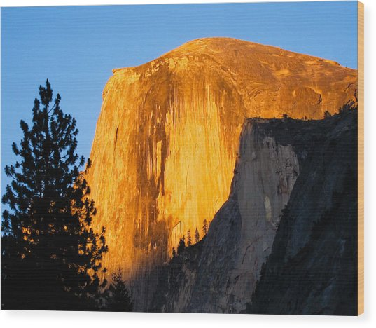 Half Dome Yosemite At Sunset Wood Print