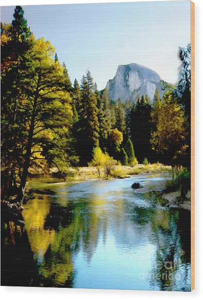 Half Dome Yosemite River Valley Wood Print
