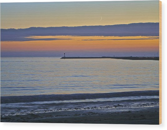 Half Moon Bay Under The Moon At Sunset Wood Print