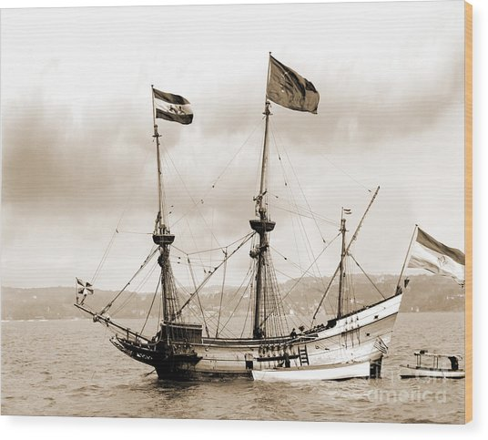 Half Moon Re-entered Hudson River After An Absence Of 300 Years In Sepia Tone Wood Print