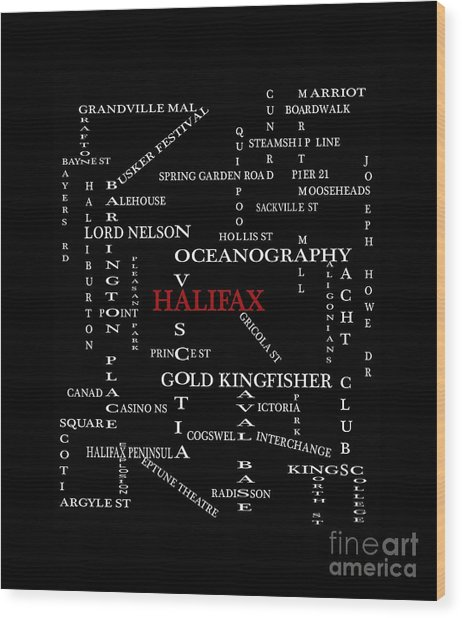 Halifax Nova Scotia Landmarks And Streets Wood Print
