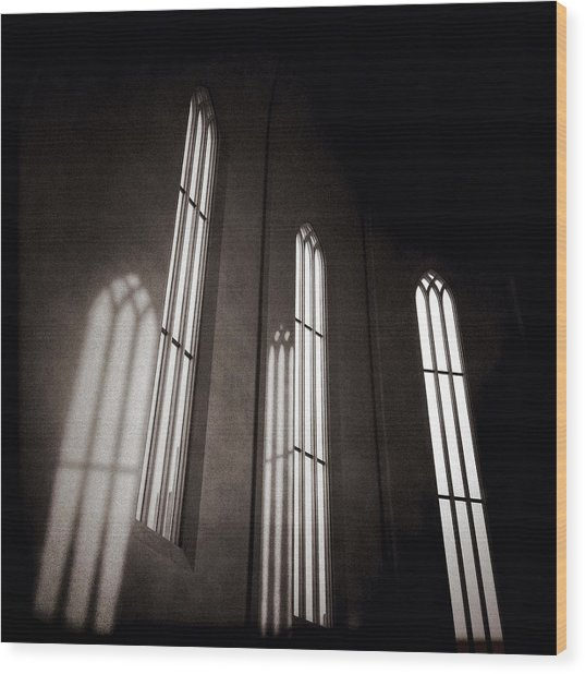 Hallgrimskirkja Windows Wood Print