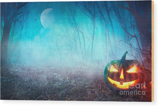 Halloween Background. Spooky Pumpkin Wood Print