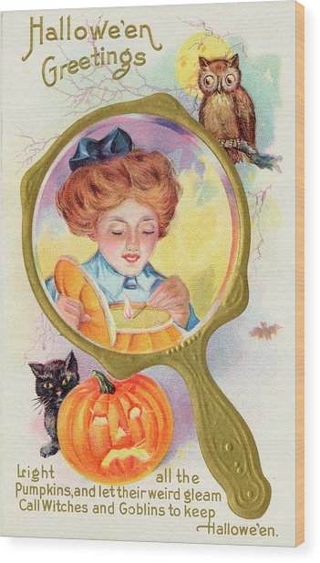 Hallowe'en Magic - Lighting Wood Print by Mary Evans Picture Library