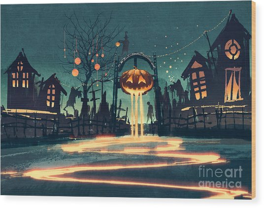 Halloween Night With Pumpkin And Wood Print