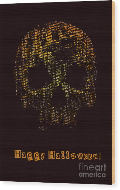 Halloween Poster With Skull. Vector Wood Print