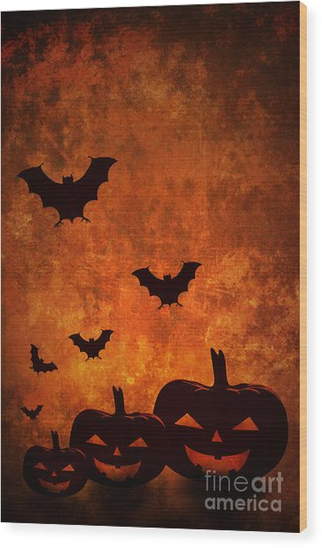 Halloween Pumpkins Wood Print