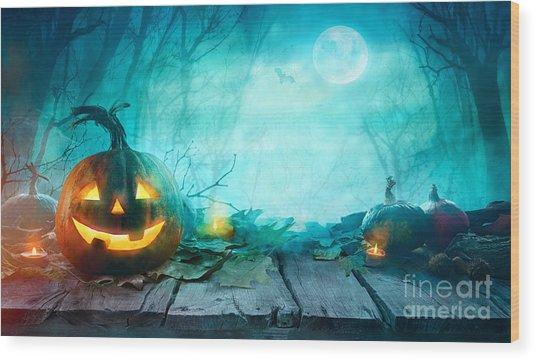 Halloween Pumpkins On Wood. Halloween Wood Print