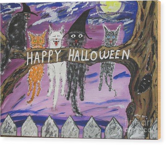 Halloween Scaredy Cats Wood Print