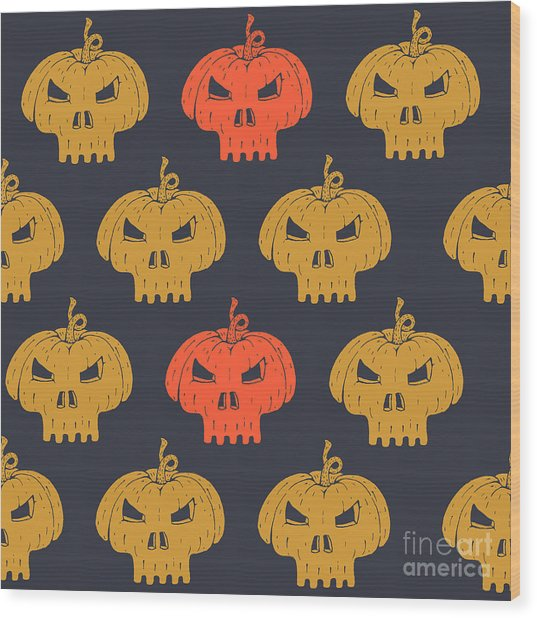 Halloween Seamless Pattern With Wood Print
