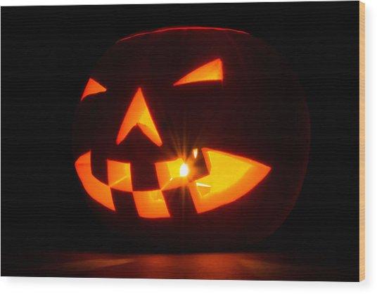 Halloween - Smiling Jack O' Lantern Wood Print