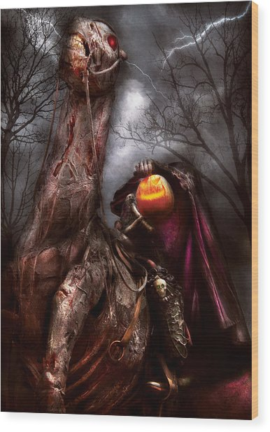 Halloween - The Headless Horseman Wood Print