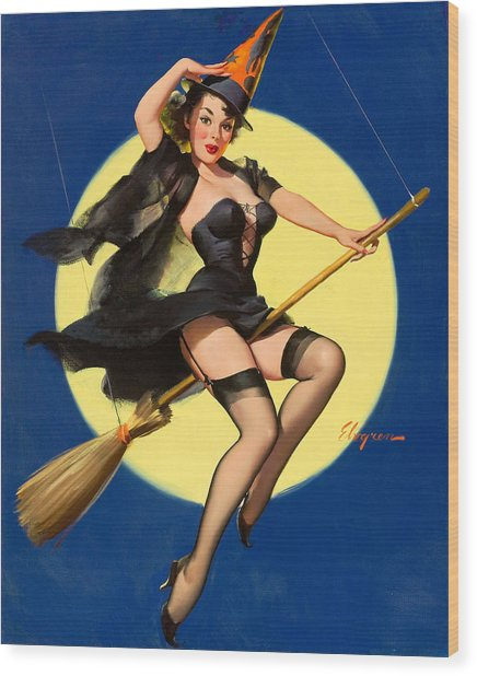 Halloween Witch Pinup Girl Wood Print