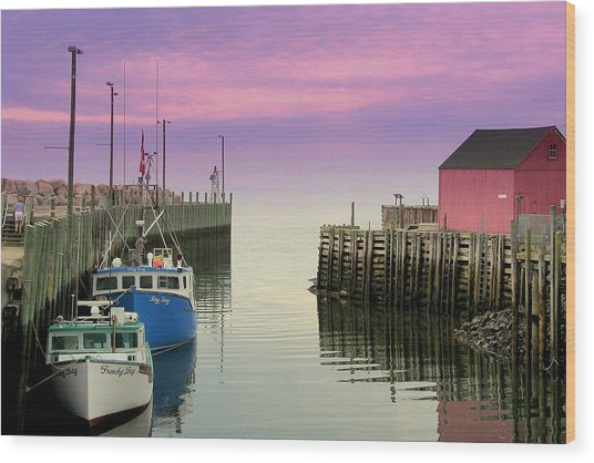 Halls Harbour Evening Wood Print