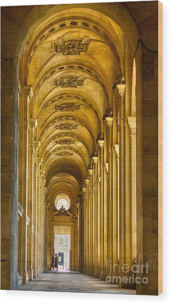 Hallway At The Louvre In Paris Wood Print