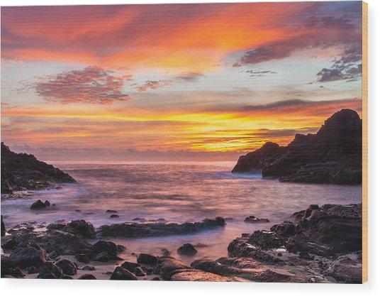 Halona Cove Sunrise 4 Wood Print