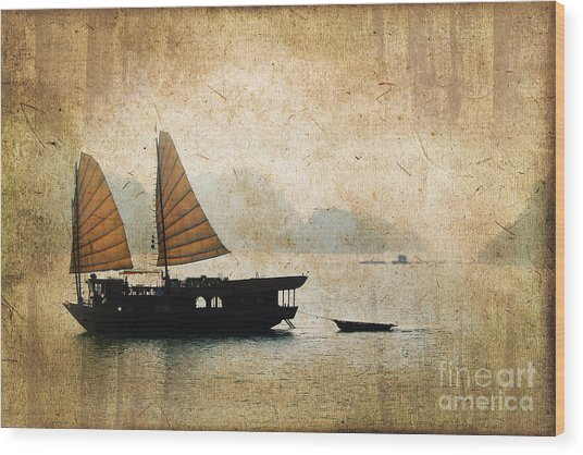 Halong Bay Vintage Wood Print