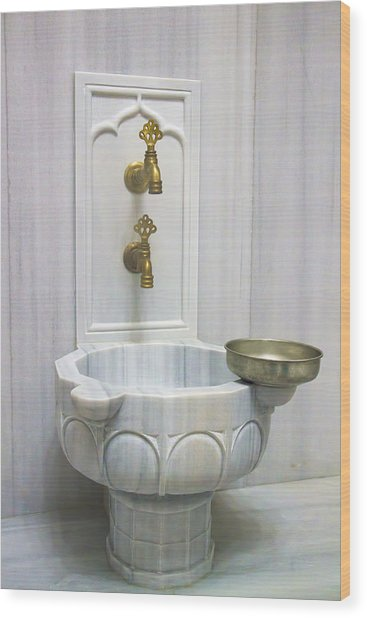 Hamam Marble Sink In Istanbul Wood Print