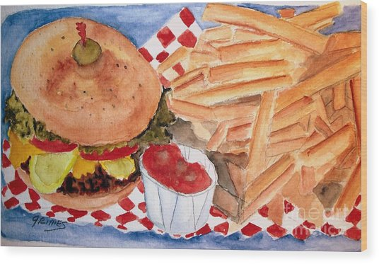 Hamburger Plate With Fries Wood Print
