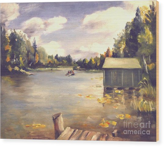 Hamlin Lake Dock 1945 Wood Print