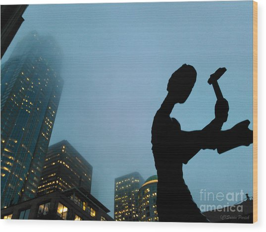 Hammering Man Seattle Wood Print