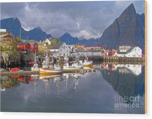 Hamnoy Fishing Village On Lofoten Islands Wood Print