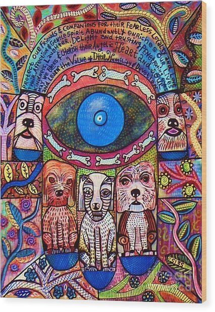 Hamsa Dog Blessing' Wood Print