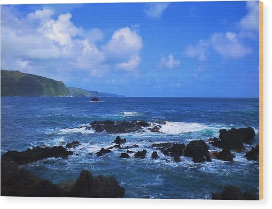 Hana Bay Happiness Wood Print