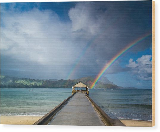 Hanalei Bay Pier And Double Rainbow Wood Print