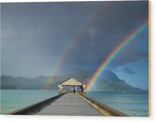 Hanalei Pier And Double Rainbow Wood Print
