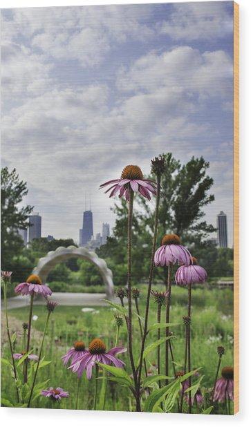 Hancock As Seen Through Flowers Wood Print by Michael  Bennett