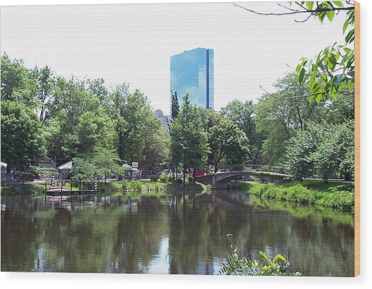 Hancock Building From Lagoon Wood Print