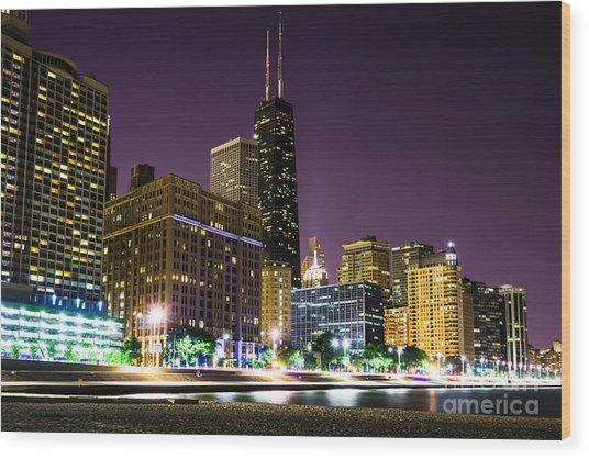 Hancock Building With Dusk Chicago Skyline Wood Print