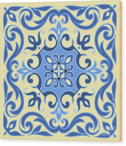 Hand Drawing Tile Pattern In  Blue And Wood Print by Zinaida Zaiko