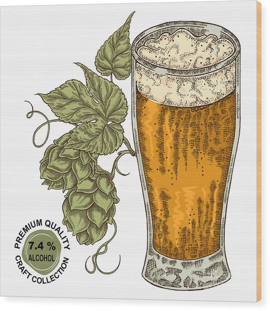 Hand Drawn Beer Glass With Hops Plant Wood Print